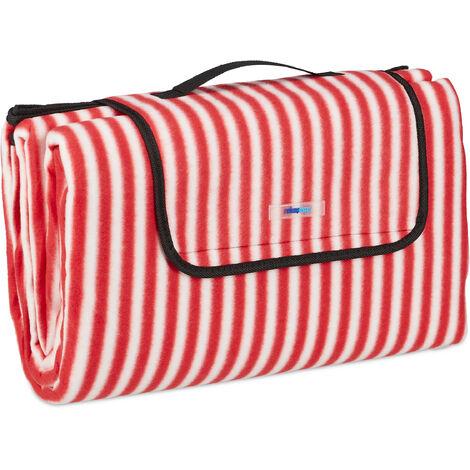 Manta Picnic XXL, 200x200 cm, Esterilla Playa, Estera picnic, Aislante e Impermeable, con Asa, Rojo y Blanco
