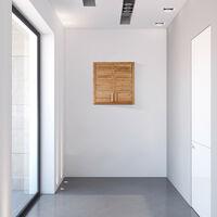 Armario de baño, Dos puertas, Estantes ajustables, Cuadrado, Bambú, Marrón, Pared, 56,5x56x21 cm