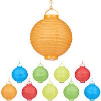 Set de 10 farolillos LED, Funcionamiento con pilas, Interior y exterior, Colgante, Lámpara de papel, Multicolor, Ø 20 cm