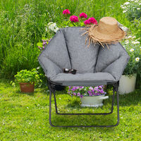 Silla Camping Plegable Moon Chair XXL, Acero y PVC, Gris, 87 x 85 x 70 cm