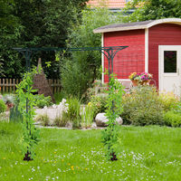 Pérgola metálica de jardín, Soporte para plantas trepadoras, Resistente, 205 x 202 x 52 cm, Verde oscuro