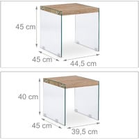 Set 2 Mesas Auxiliares Cuadradas, Cristal-DM, Beige, 40-45 cm de alto