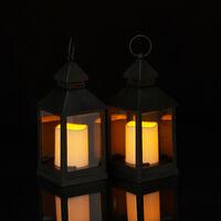 Set de ocho faroles LED de jardín, Vela con efecto de llamas, Iluminación de exterior, Colgante o de pie, 23 cm, Negro