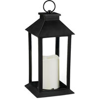 Set de cuatro faroles LED de jardín, Vela con efecto de llama, Iluminación de exterior, Colgante o de pie, 30 cm, Negro