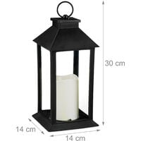 Set de diez faroles LED de jardín, Vela con efecto de llama, Iluminación de exterior, Colgante o de pie, 30 cm, Negro