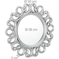 Espejo redondo de pared, Decoración de pasillo o salón, Con marco, ∅ 50 cm, Plata