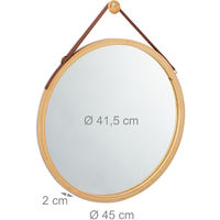 Espejo redondo de pared, Correa ajustable, Marco de bambú, Moderno, ∅85 cm, Marrón
