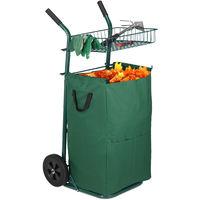 Carretilla Jardín con Saco 70 l, Carrito Plegable, Bolsa Residuos, Ruedas Goma, Metal-Poliéster, 1 Ud., Verde