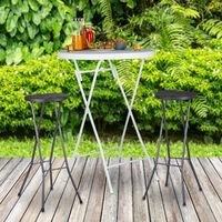 Taburete de bar BASTIAN plegable, set de 2, resistente intemperie, altura 80 cm, silla de bar, plástico, barra, negro