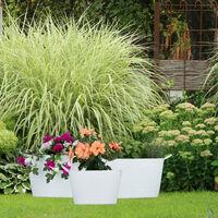 Jardineras Metal Ovaladas de Estilo Vintage, 3 Unidades, Hierro Galvanizado, Varios Colores, Varios Tamaños