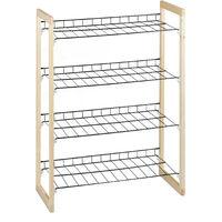 Zapatero Recibidor, Estantería Zapatos, Organizador 4 Baldas, Madera-Hierro, 1 Ud, 79x57,5x29 cm, Marrón-Negro