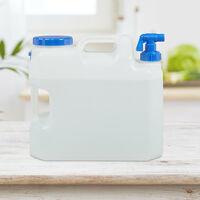 Bidón de agua con grifo, Tapa de rosca, Garrafa XL, Camping, 18L, Sin BPA, 1 Ud., Blanco