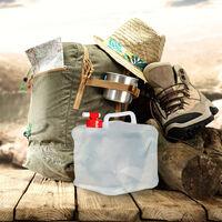 Bidón plegable, Grifo & Tapón de Rosca, Garrafa de camping, Sin BPA, 10L, 4 Uds., Transparente & Rojo