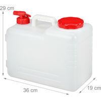 Bidón con grifo, Tapón de rosca, Depósito de agua potable, Para camping, 15L, Sin BPA, 1 Ud., Blanco & Rojo