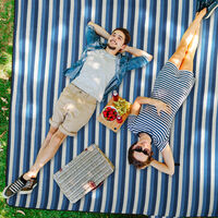 Manta Picnic XXL, 200 x 200 cm, Esterilla Playa, Estera césped, Aislante e Impermeable, con Asa, Azul y Blanca