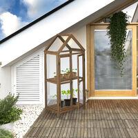 Invernadero para Balcón, Madera y Plástico, 146x66x47,5 cm, Puerta doble, Armario de Cultivo Terraza, Marrón