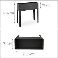 Huerto urbano, Recipiente para plantas, Tiesto de balcón, Metal, 80,5 x 81,5 x 31 cm, Gris