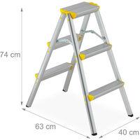 Escalera Plegable Aluminio, Escalerilla Tijera Doméstica, hasta 150 kg, 3 Peldaños, Plateado y Amarillo