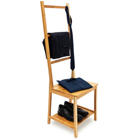 Relaxdays Bamboo Clothes Valet Chair 133x 40x 42cm with 2Shelves Wooden Clothes Stand with 3Rails, Ideal For Moist Rooms, Clothing Organiser with Towel Holder Rack Stand, Natural