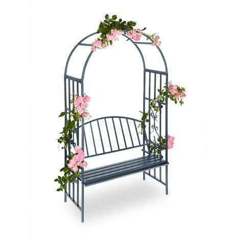 Relaxdays Arbour with Bench, Robust Metal, 2-Seater Decorative Garden Chair, Trellis, HxWxD: 205 x 115 x 50 cm, Gray