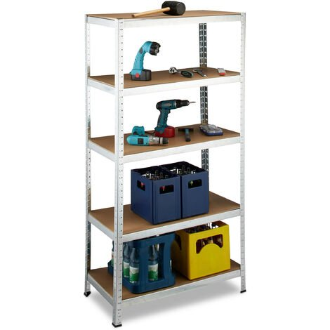 Relaxdays Heavy Duty Shelves, 180 x 90 x 45 cm, up to 1325 kg Capacity, 5 Shelves, Freestanding, Metal & MDF Wood, Plug-In, Grey