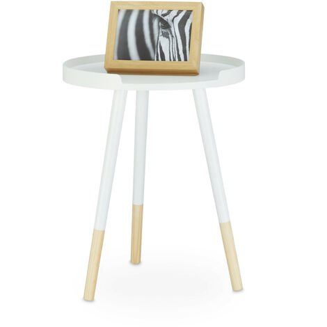 Relaxdays Round Scandinavian Dining Table, Wood, 3 Legged, Night Stand Coffee Table, H x W x D: 49 x 40 x 40 cm, White