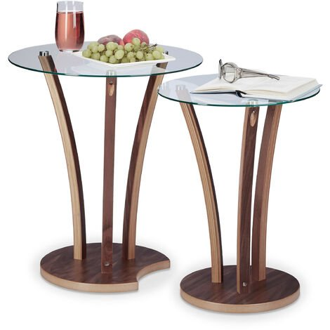 Relaxdays Round Side Table Set of 2, Glass Table with Wooden legs, 2 Small End Tables, Modern Design, 2 Sizes, Natural