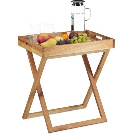 Relaxdays Folding Serving Tablet, Foldable Serving Tray Walnut Wood, Small Side Table, Tablet, HxWxD: app. 54 x 52 x 36 cm