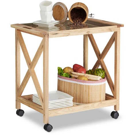 Relaxdays Wooden Kitchen Cart with Wheels, Serving Trolley with Glass Top, 2 Tiers, HxWxD: 63 x 66.5 x 38 cm, Natural