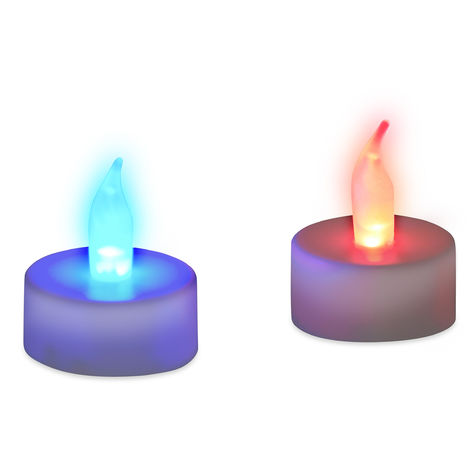 Relaxdays LED Tealight Candles, Changing Colours, Electric Flame Decoration, Set of 2, Mood Lights, Colourful