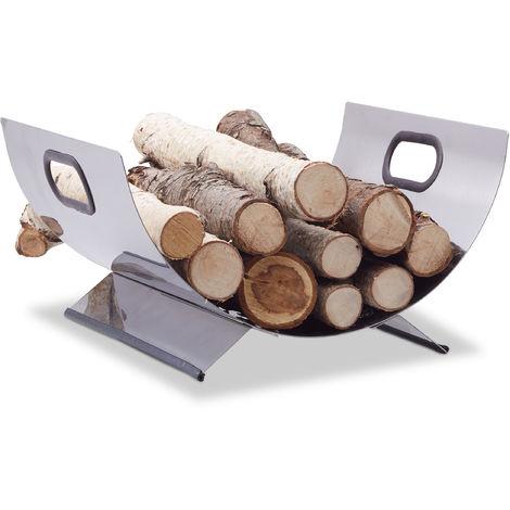 Relaxdays Stainless Steel Wood Cradle, Modern Firewood Basket, Metal Log Carrier Holder, H x W x D 19 x 37 x 33 cm, Silver