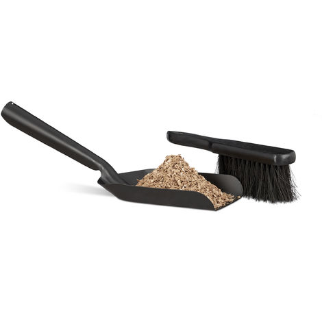 Relaxdays Small Dustpan and Brush Set, Durable Steel Set with Sweeper, Ash Scoop, Black