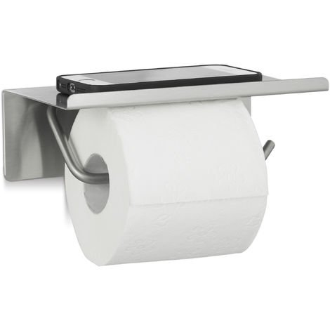 Relaxdays Stainless Steel Toilet Paper Holder Wall Mounted Toilet Roll Dispenser with Tray, HxWxD: 7 x 18.5 x 11 cm, Silver