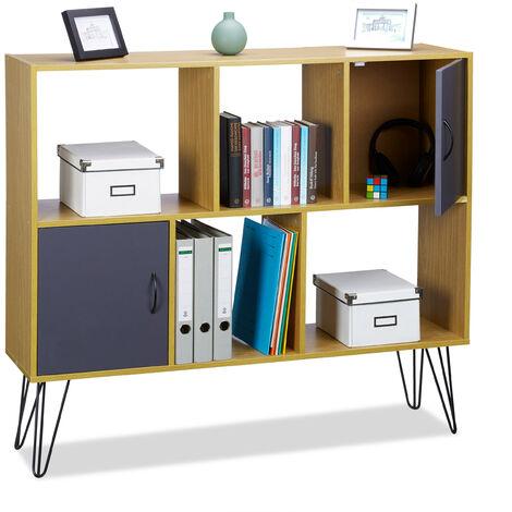 Relaxdays Brown Vintage Standing Shelf, 6 Tiers, Elegant Wooden Look, 2 Doors, Metal Legs, HWD: 103 x 120 x 30 cm