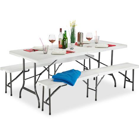 Relaxdays Folding Garden Furniture Set of 3, Garden Table and Beer Benches, H x W x D: 74 x 180 x 74.5 cm, White