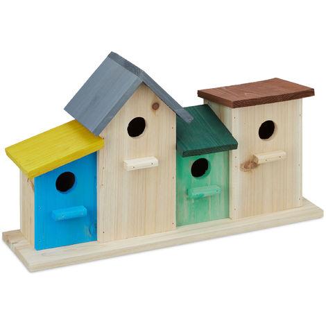 Relaxdays Birdhouses on Wooden Stand, Outdoor Nesting Box, Garden Decoration, Feeder HxWxD 26 x 46 x 12.5 cm, Colourful