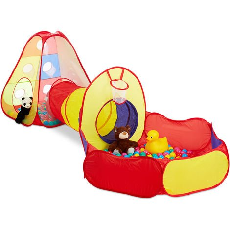 Relaxdays Ball Pit with Crawling Tunnel, 3-Piece Pop-Up Playing Tent with 100 Balls, Age 3 and Up, In- and Outdoors, Colourful