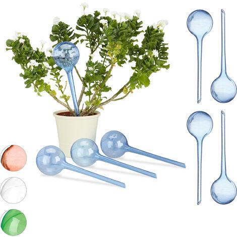 Relaxdays Watering Globes, Set of 8, Regulated Irrigation, 2 Weeks, Pot Plants, Plastic Sphere, Bulb, Blue