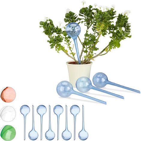 Relaxdays Watering Globes, Set of 12, Regulated Irrigation, 2 Weeks, Pot Plants, Plastic Sphere, Bulb, Blue