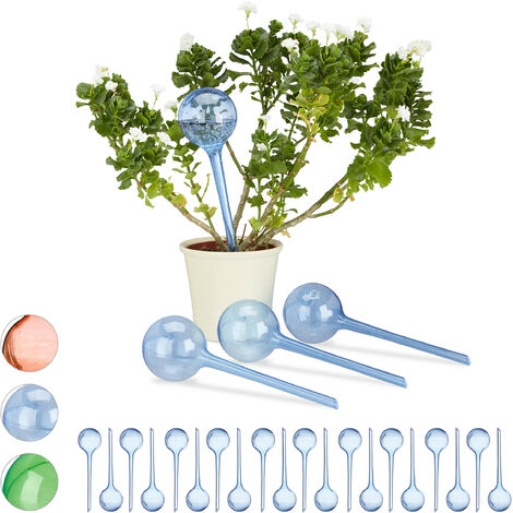 Relaxdays Watering Globes, Set of 24, Regulated Irrigation, 2 Weeks, Pot Plants, Plastic Sphere, Bulb, Blue