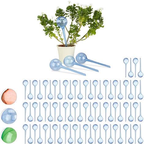 Relaxdays Watering Globes, Set of 80, Regulated Irrigation, 2 Weeks, Pot Plants, Plastic Sphere, Bulb, Blue