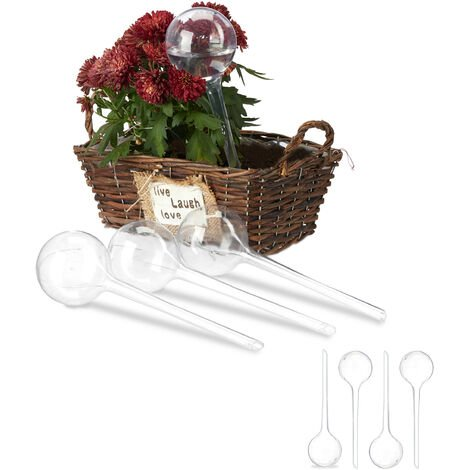 Relaxdays Watering Globes, Set of 8, Regulated Irrigation, 2 Weeks, Pot Plants, Plastic Sphere, Bulb, Transparent