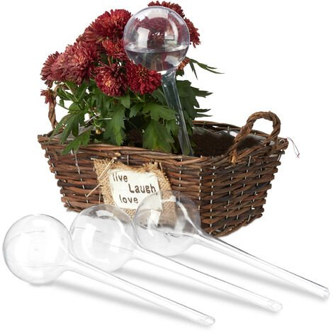 Relaxdays Watering Globes, Set of 24, Regulated Irrigation, 2 Weeks, Pot Plants, Plastic Sphere, Bulb, Transparent