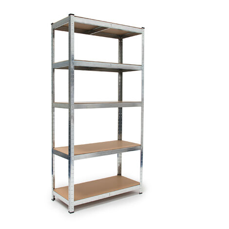 Relaxdays Heavy-Duty Shelving Unit, HxWxD: 179 x 90 x 41 cm, Galvanized Steel, 875 kg Capacity, Plug-in, with Work Bench, Silver