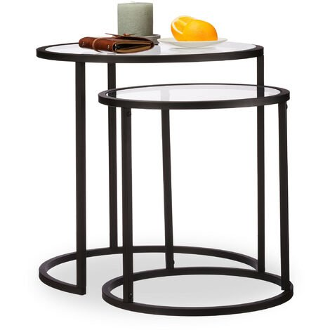 Relaxdays Nesting Tables Set of 2, Coffee Table with Glass Top, Compact Storage, HWD 50.5x50x50 cm, Black