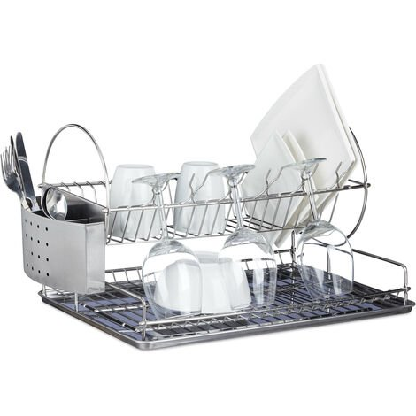 Relaxdays Stainless Steel Dish Drainer, Wine Glass Holder, Cutlery Basket, Dish Rack, Collecting Tray, Robust, HxWxD: ca 29.5 x 51 x 31.5 cm, Silver