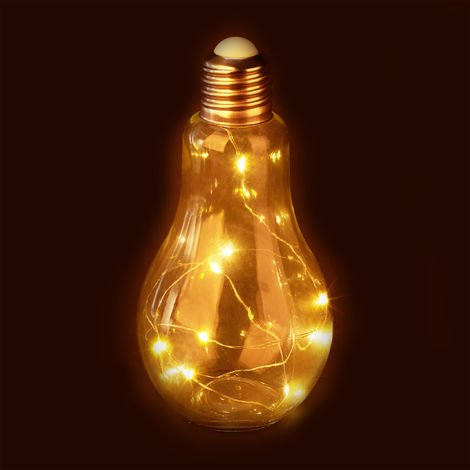 Relaxdays Decor LED Light Bulb, Desk Lamp, Battery-Operated LED Bulb, Glass Bulb with String Lights, Transparent