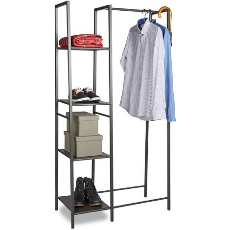 Relaxdays Metal Clothes Stand, Open Wardrobe, Free-standing, 4 Shelves, Garment Rail, HxWxD: 162 x 85 x 40 cm, Grey