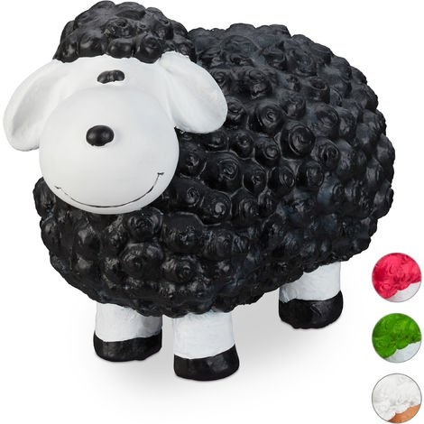 Relaxdays Garden Ornament Sheep, Frost-proof, Weather-proof, Hand-painted Garden Decoration, In-& Outside Use, Black
