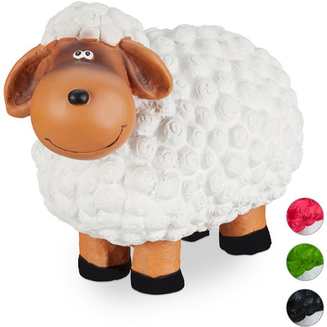 Relaxdays Garden Ornament Sheep, Frost-proof, Weather-proof, Hand-painted Garden Decoration, In-& Outside Use, White